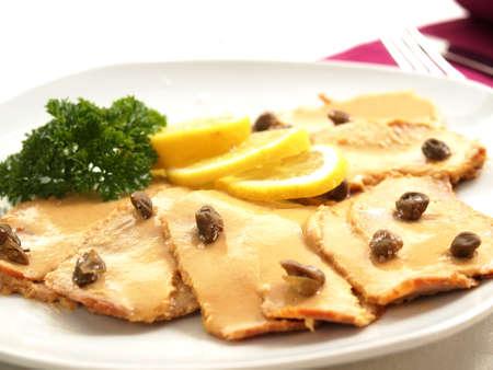 foreplay: Vitello tonnato - veal with tuna sauce Stock Photo