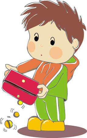 empty wallet: boy with empty wallet