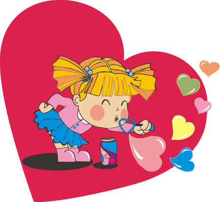 girl blowing: valentine baby girl blowing heart bubbles Illustration