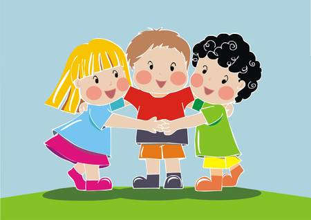 group of friend children Vector