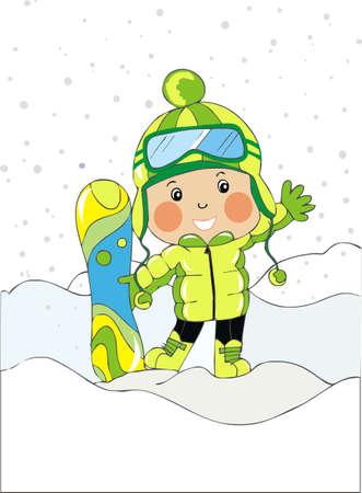 snow flakes: baby boy met snowboard Stock Illustratie