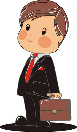 smart kid: business boy with suitcase