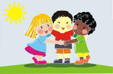 racisme: multi-etnische groep van vrienden