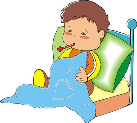 enfant malade: gar�on malade Illustration