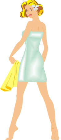 spa girl with towel Vector