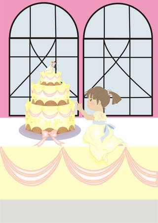 tasting wedding cake Vector