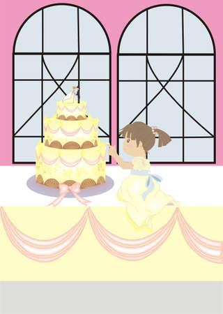 tasting wedding cake Stock Vector - 12487263