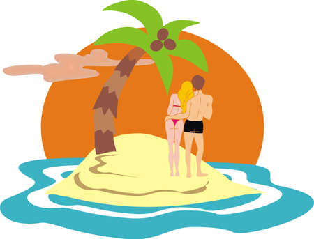 couple on desert island Stock Vector - 12487269