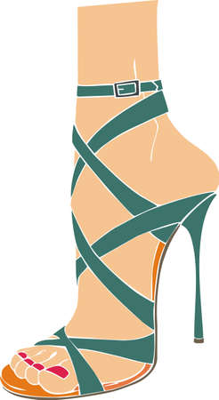 sandalias: Sandalia mujer italiana Vectores