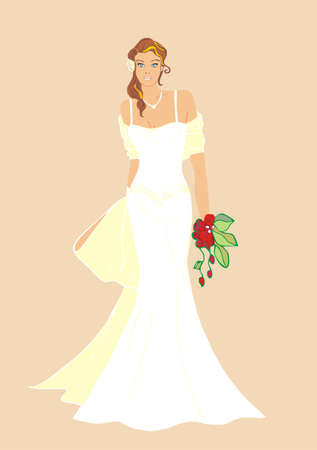 bride with wedding dress and bouquet Vector