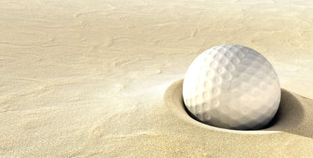 Plugged Golf Ball - A ball plugged deep in a sand bunker photo