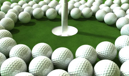 assail: Golf Hole Assault - An array of balls ominously challenging a hole on the green  Stock Photo
