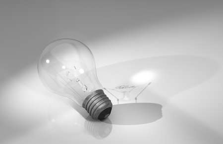 notion: Ideas Light Bulb - A light bulb with a filament spelling out the word IDEA and casting its shadow
