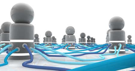 Réseau social de complexe - icônes stylisées personne interconnecté et en réseau via complexes câbles bleus propagation dans des directions différentes