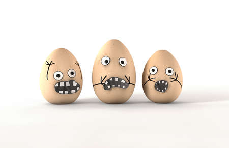 melodramatic: Scared Egg Characters - 3 made up eggs with human emotion that are obviously fightened or scared by something