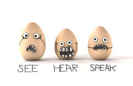 turmoil: See Hear Speak No Evil Eggs - 3 made up eggs with human emotion that are dsplaying the philosophy of see no evil, hear no evil and speak no evil