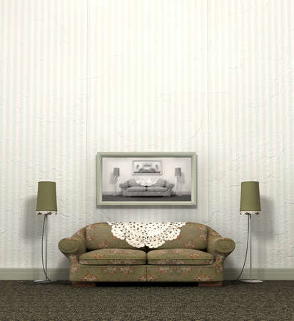Grandmas Old Sofa - An arty look at a vintage sofa and interior layout of a bygone era photo