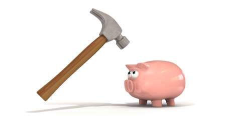 threateningly: A piggy bank staring ominously at a hammer looming threateningly over his head