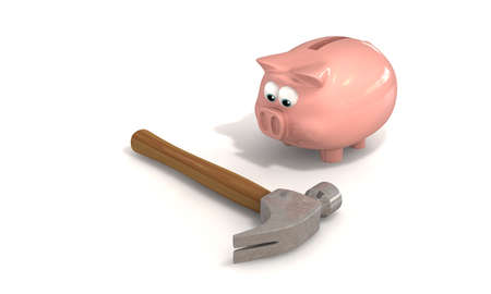 A piggy bank staring down a hammer mulling over the possibility of of being broken open photo