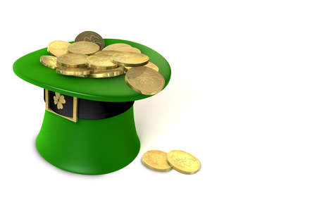 A green leprechaun hat emblazened with a gold shamrock and overflowing with gold pieces  photo