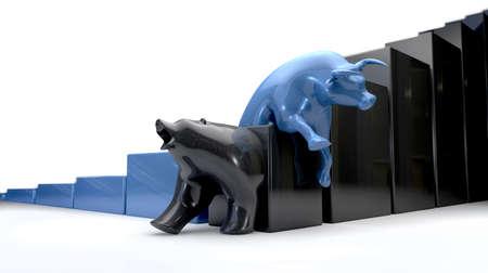 bullish: Il toro e le tendenze economiche orso intersecando una rappresentazione letterale