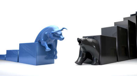 The bull and bear economic trends approaching each other photo