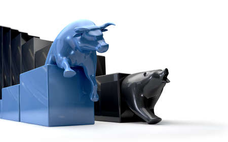 bearish market: The bull and bear economic trends competing side by side Stock Photo