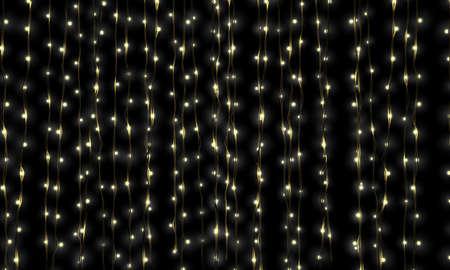 string of lights: A curtain of illuminated fairy lights