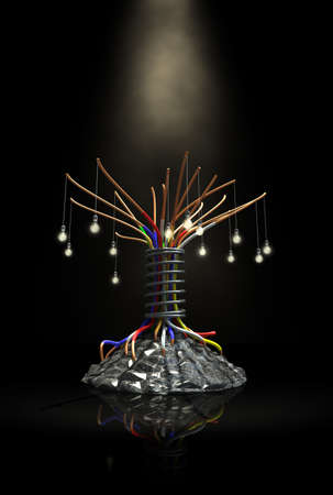 premonition: A stylised tree made out of electrical and mechanical elements and metal Stock Photo