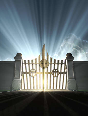A depiction of the pearly gates of heaven with the bright side of heaven contrasting with the duller foreground  photo