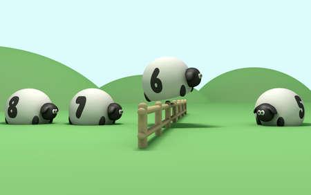 Eine wörtliche Beschreibung des Begriffs Schafe zählen mit Schafen Sprung über einen Zaun in numerischer Reihenfolge