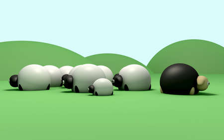 A non-conformist depiction of a black sheep not following the general sheep herd photo