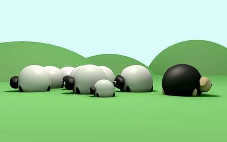 mouton noir: Une repr�sentation non-conformiste d'un mouton noir ne suit pas le troupeau de moutons g�n�rale