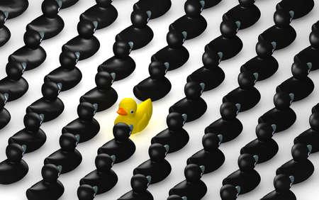 unconventional: Un non-conformista rappresentazione di una papera di gomma gialla nuoto vasca contro il flusso di paperelle di gomma nera.