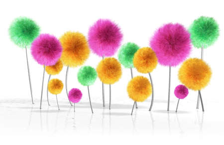 silken: A small crop of fantasy dandelion like trees in bright colors growing out bumpy reflective white soil