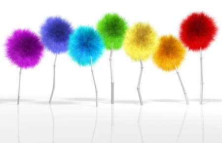 silken: A small crop of fantasy dandelion like trees in a full spectrum of colors Stock Photo