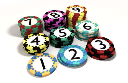 quantities: 9 different casino chips numbered and stacked in corrosponding quantities