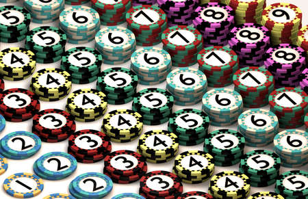 quantities: 9 different casino chips numbered and stacked in corrosponding quantities and then laid out in a patterned grid