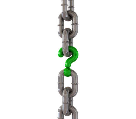 conundrum: A metal chain with a green question mark as one of its links  Stock Photo