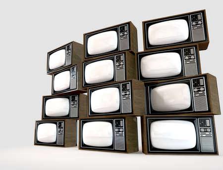 Eine Wand Aus Alten Vintage Röhren-Fernseher Mit Holzverkleidung ...