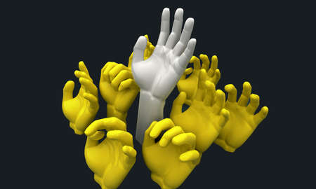 A group of 3D yellow hands reaching skyward with a white one reaching the furtherest photo