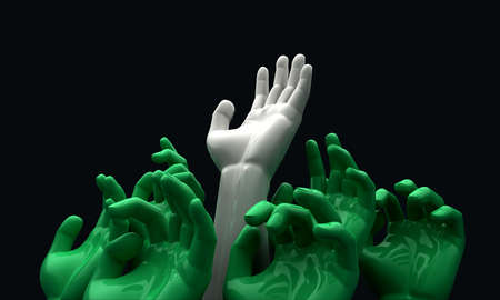 welfare: A group of 3D green hands reaching skyward with a white one reaching the furtherest Stock Photo