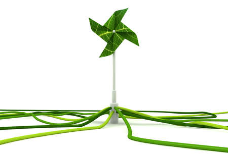 A green toy windmill made out of leaves connected to outgoing green cables Stock Photo
