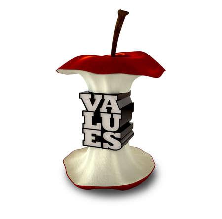 Rdzeń jabłko ze skrajną centrum jak ekstrudowanego tekstu sprecyzowania wartości słowa