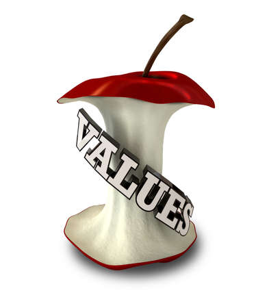 fundamentals: An apple core with extruded text spelling out the word value Stock Photo
