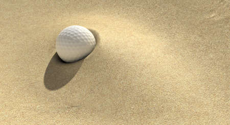 A golf ball plugged deep in a sand trap photo
