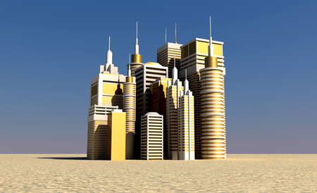 industrious: A small thriving golden city of skyscrapers rising out of the middle of a desolate flat desert Stock Photo