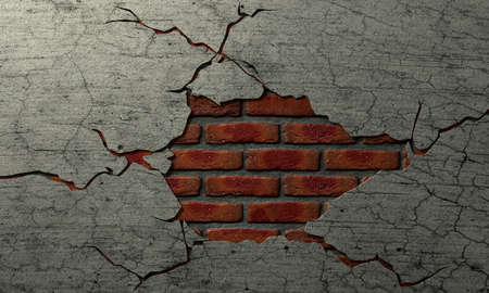 disintegrate: A plastered brick wall with the plaster cracked away revealing a brick centre Stock Photo