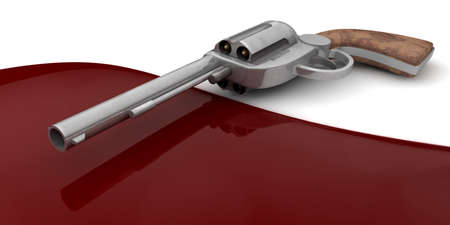six shooter: A revolver lying next to a pool of blood