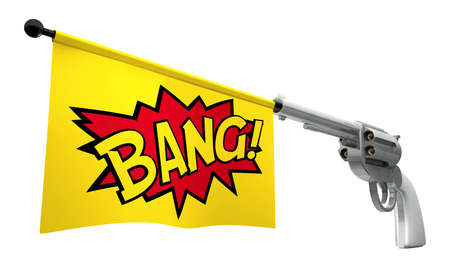 A gunpointed towards the camera with a flag coming out the barrel that says the word bang on it photo